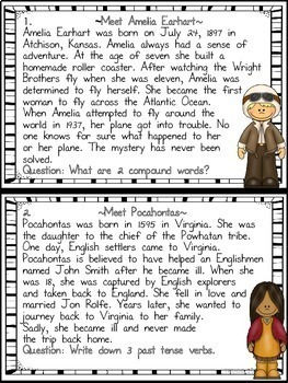 March Literacy Centers Women's History Month Task Cards