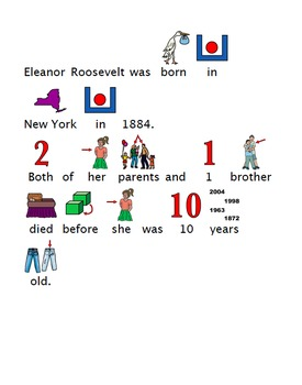 Women's History Month Adapted Biography Eleanor Roosevelt Special Education