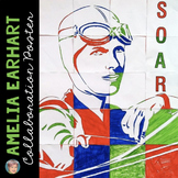 Amelia Earhart Collaborative Portrait Poster - Great for Women's History Month