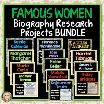 Famous Women Biography Bundle, Flip Book, Research Projects, Writing Prompts