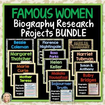 Famous Women Biography Bundle, Flip Book, Research Project