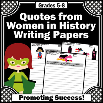 Women's History Month Activities, Famous Quotes, Writing Papers