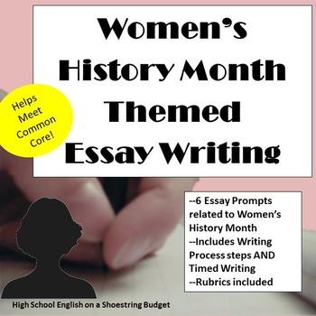 Women's History Month Themed Essay Writing, w Rubrics & Pr