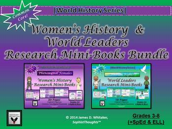 Women's History & World Human Rights Leaders Research Mini-Book Bundle