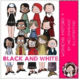 Womens History clip art - Set 4 - BLACK AND WHITE - by Melonheadz