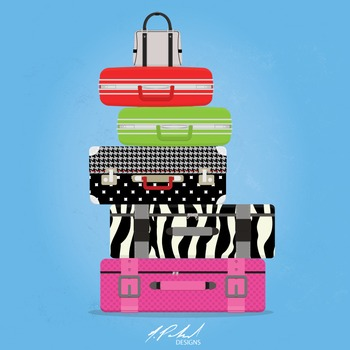 Women's Luggage Clip Art - Baggage Clip Art - Suitcase Clip Art - Vacation