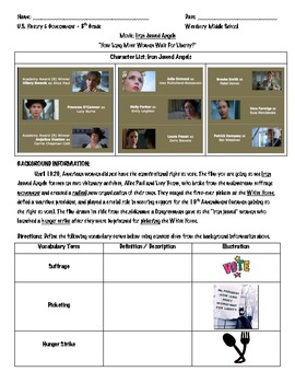 Women's Rights: Iron Jawed Angels Packet Handouts and Lesson Plan 3