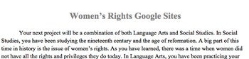 Women's Rights Research Project Outline (Google Sites)