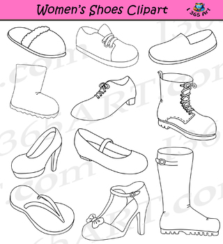Womens Shoes Clipart Footwear Set