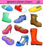 Womens Shoes Clipart Footwear Set