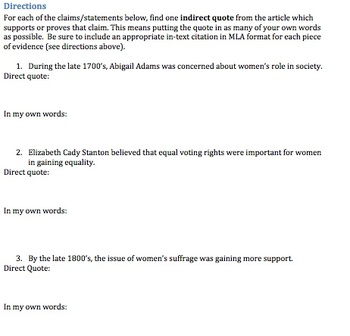 Women's Suffrage Citing Evidence Reading Guide- DifferentiatedW
