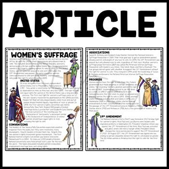 Women's Suffrage Reading Comprehension Worksheet, DBQ ...