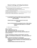 Women's Suffrage and Voting Amendments Worksheet