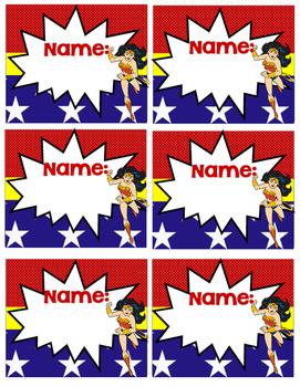 WondWoman Name labels