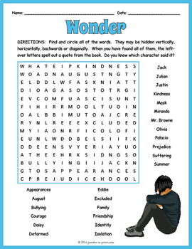 Wonder Word Search Puzzle By Puzzles To Print Teachers