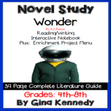 Wonder, Novel Study & Enrichment Project Menu