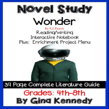Wonder, Novel Study & Enrichment Project Menu