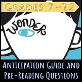 Wonder Pre-reading Worksheets & Teaching Resources   TpT