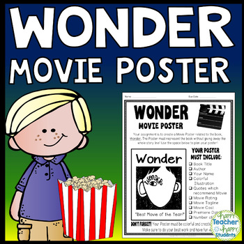 wonder project create a movie poster wonder book report activity
