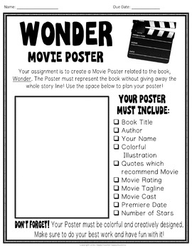 Wonder Project: Create a Movie Poster - Wonder Book Report Activity
