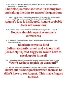 Wonder Book Study Answer Key