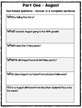 Wonder by R.J Palacio- Novel Study and Comprehension Task Cards