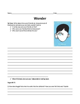 Wonder Book Study and Questions