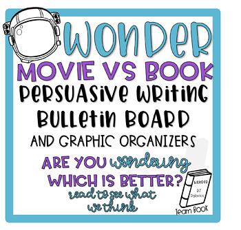Wonder Book vs Movie Persausive Writing Bulletin Board & Graphic Organizers