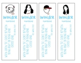 Wonder by R.J. Palacio Bookmarks - Characters With Quotes