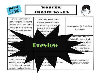 Wonder CHOICE BOARD BUNDLE 11 Activity Pages Rubric Book Project Menu