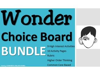 Wonder CHOICE BOARD BUNDLE 11 Activity Pages Rubric Book Project Menu