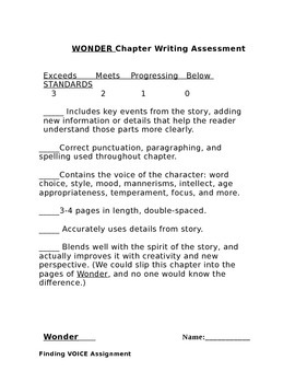 Wonder - Chapter Writing Assignment: Focus on Voice