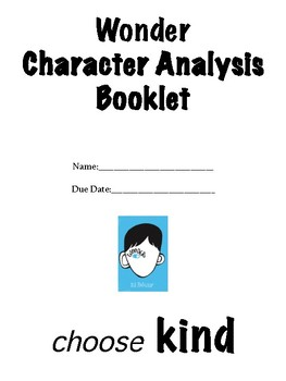 Wonder Character Analysis Booklet