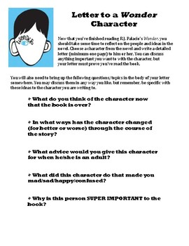 Wonder Character Letter