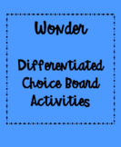 Wonder Differentiated Choice Board Activities