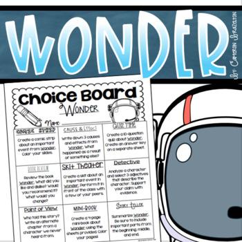 Wonder Choice Board Tic Tac Toe Menu Project Activity