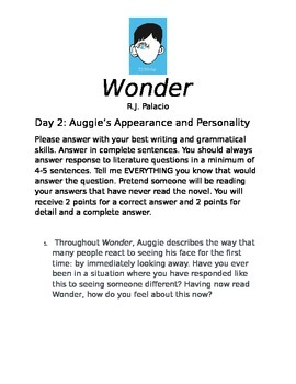 Wonder Comprehension Questions August's Appearance