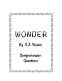 Wonder Novel Unit Comprehension Checks for Close Reading
