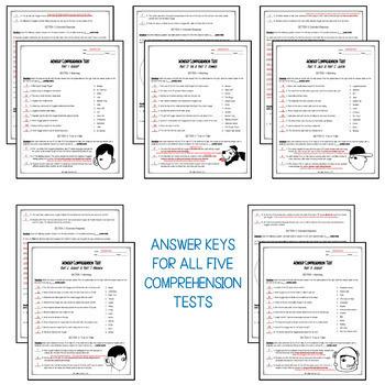 Back to School Wonder by R.J. Palacio Comprehension Test BUNDLE
