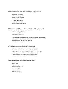 Wonder Comprehension Test pages 3-53