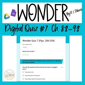 Wonder Novel Quiz Worksheets & Teaching Resources | TpT