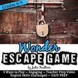 Escape Game Break Out Box Activity, Wonder (Movie or Novel)
