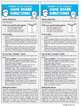 Wonder Game Board Novel Study Activity