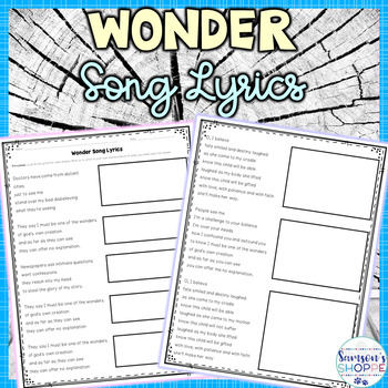 Wonder Lyric Analysis Activity