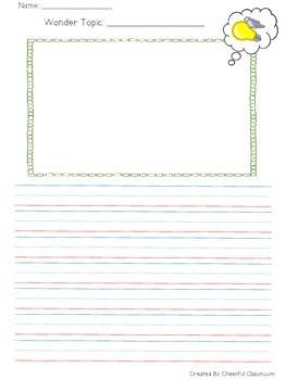 Wonder Journal Pages (Graphic Organizers and Lined Paper)