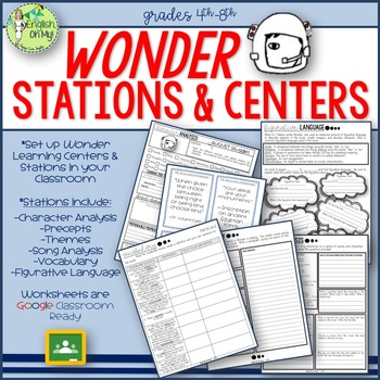 Wonder Learning Centers-Stations with Activities for the Novel