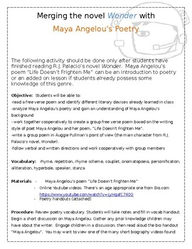 "Wonder & Maya Angelou Poetry ""Life Doesn't Frighten Me""  Activity"