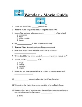Wonder Movie Worksheets & Teaching Resources | Teachers Pay Teachers