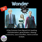 Wonder Movie Guide- 8 day unit comprehension, analysis and literary skills
