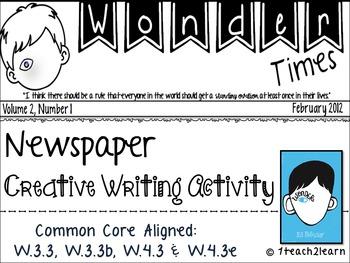 Wonder: Novel Study Creative Writing